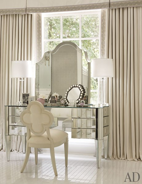 Mirrored Vanity, Traditional, bedroom, Architectural Digest