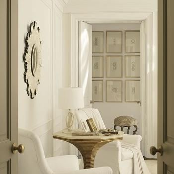 Architectural Digest - living rooms - white, sunburst, mirror, white, accent chairs, gold, accent table, sunburst mirror, white sunburst mirror,