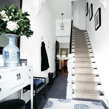 House & Home - entrances/foyers - sisal, stair runner, vintage, black, hex, tiles, floor, white Asian, console, tables, ming, vase, black, mirror, stair runner, sisal stair runner, Madeline Weinrib Atelier Beige & Blue Mandala Rug,