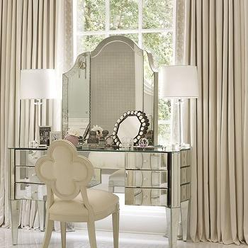 Architectural Digest - bedrooms - ivory, drapes, ivory, cornice box, mirrored, vanity, ivory, Suzanne Kasler, quatrefoil, chair, mirrored vanity,