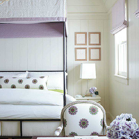 Traditional Home - girl's rooms - ivory, walls, iron, canopy, bed, white, lilac, canopy, bed, cover, white, lilac, lumbar, pillow, lilac, linen, roman shade, white, lilac, chair, canopy bed, iron canopy bed, girl canopy bed, girls canopy bed, girl iron canopy bed, girls iron canopy bed,