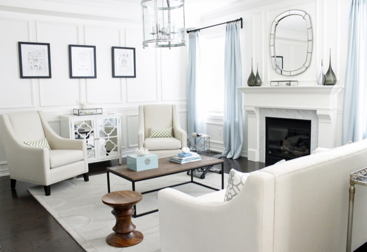 http://www.amdolcevita.com - living rooms - Benjamin Moore - Custom Antique White - Eames Walnut Stool in the Living Room, Chess Stool,  Eames