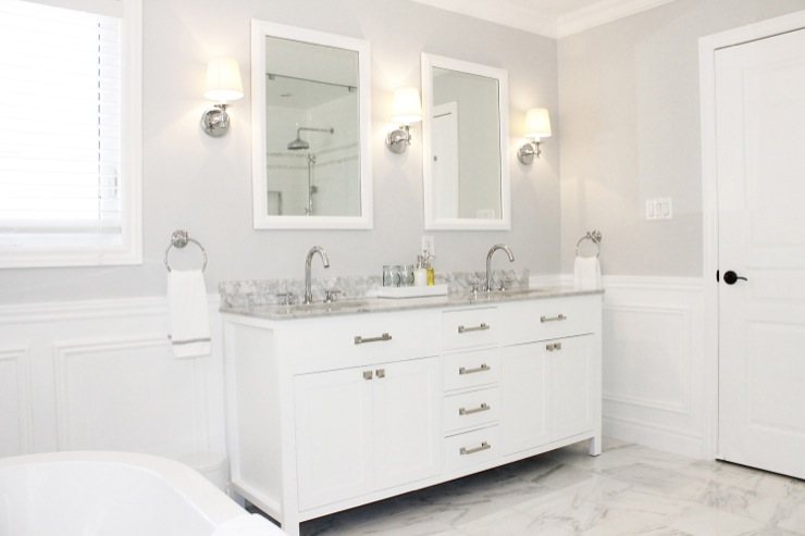 Benjamin Moore Chantlly Lace Transitional Bathroom