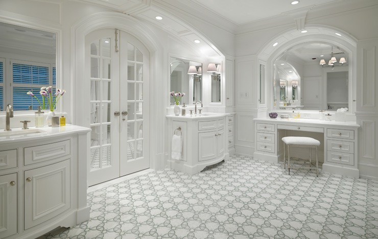 Arched French Doors Transitional Bathroom Jan