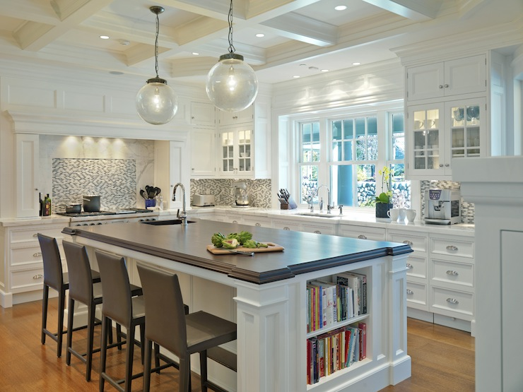 Jan Gleysteen Architects - kitchens - coffered ceiling, clear glass, pendants, white, kitchen cabinets, marble, countertops, white, kitchen island, beveled, butcher block, countertop, brown, leather, modern, counter stools, white, blue, glass, mosaic, tiles, backsplash,