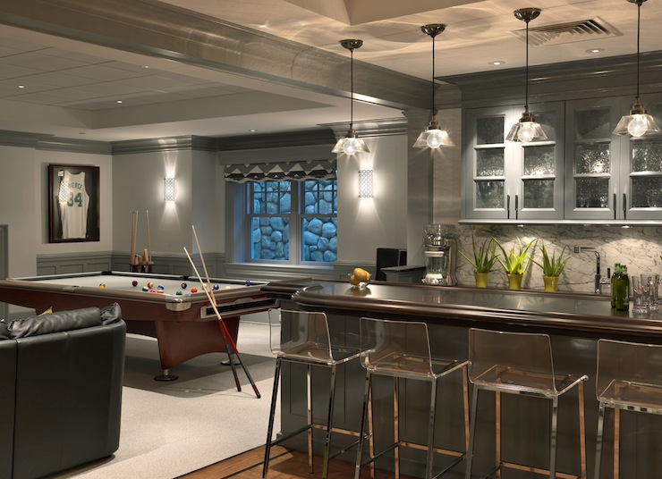 Jan Gleysteen Architects - basements - CB2 Vapor Barstool, glossy, charcoal, gray, chair rail, wainscoting, pool table, wet bar, charcoal, gray, glass-front, cabinets, acrylic, counter stools, wet bar, wet bar design,