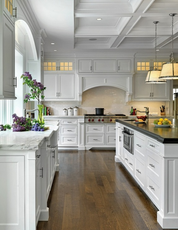 Jan Gleysteen Architects - kitchens - Robert Abbey Chase Pendant, coffered ceiling, subway tiles, backsplash, white, kitchen cabinets, marble, countertops, farmhouse, sink, white, kitchen island, beveled, ebony, stained, butcher block, countertop, small, round, sink in kitchen island, chase pendants, robert abbey pendants,