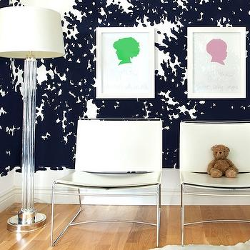 Janet Rice Interiors - girl's rooms - black, white, wallpaper, two-tone, black, white, drapes, clear, glass, column, floor lamp, green, pink, silhouette, art, prints, white, cowhide, rug, white, modern, leather, chairs, black and white wallpaper,