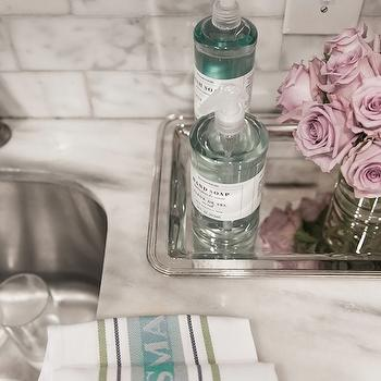 Janet Rice Interiors - kitchens - pink, roses, silver, beaded, serving, tray, marble, slab, countertops, marble, subway tiles, backsplash, sterling silver tray,