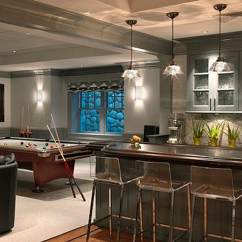Jan Gleysteen Architects - basements - glossy, charcoal, gray, chair rail, wainscoting, pool table, wet bar, charcoal, gray, glass-front, cabinets, acrylic, counter stools, wet bar, wet bar design, CB2 Vapor Barstool,