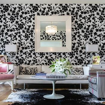 Janet Rice Interiors - living rooms - pink, tufted, accent chairs, black, white, floral, wallpaper, glossy, white, lacquer, square, beveled, mirror, linen, modern, sofa, white, black, striped, chair, pink, ribbon, trim, black, white, cowhide, rug, marble, top, Saarinen, coffee table, black and white living room,