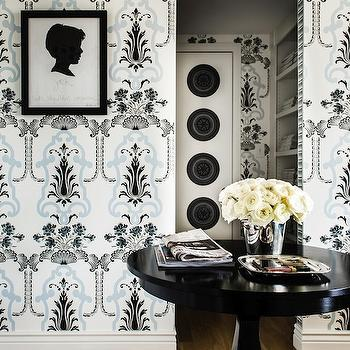 Janet Rice Interiors - entrances/foyers - glossy, black, foyer, table, blue, black, wallpaper, black, silhouette, print, black, gallery, frame, round foyer table, foyer table, foyer, round entry table, entry table, round entrance table, entrance table,