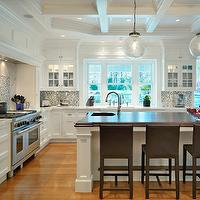 Jan Gleysteen Architects - kitchens - white, kitchen cabinets, marble, countertops, white, kitchen island, beveled, butcher block, countertop, sink in kitchen island, brown, leather, modern, counter stools, white, blue, mosaic, tiles, backsplash, clear, glass, globe, pendants,