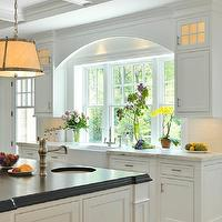 Jan Gleysteen Architects - kitchens - coffered ceiling, white, kitchen cabinets, marble, countertops, farmhouse, sink, white, kitchen island, ebony, stained, beveled, butcher block, countertop, small, round, sink in kitchen island, Robert Abbey Chase Pendant,