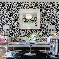 Janet Rice Interiors - living rooms - pink, tufted, accent chairs, black, white, floral, wallpaper, glossy, white, lacquer, square, beveled, mirror, linen, modern, sofa, white, black, striped, chair, pink, ribbon, trim, black, white, cowhide, rug, marble, top, Saarinen, coffee table,