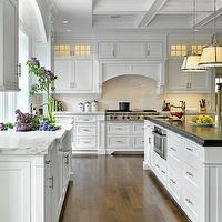Jan Gleysteen Architects - kitchens - coffered ceiling, subway tiles, backsplash, white, kitchen cabinets, marble, countertops, farmhouse, sink, white, kitchen island, beveled, ebony, stained, butcher block, countertop, small, round, sink in kitchen island, chase pendants, robert abbey pendants, Robert Abbey Chase Pendant,