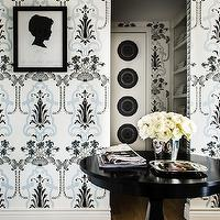 Janet Rice Interiors - entrances/foyers - glossy, black, foyer, table, blue, black, wallpaper, black, silhouette, print, black, gallery, frame,