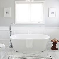 http://www.amdolcevita.com - bathrooms - Master, Bathroom, AM, Dolce, Vita, Bathroom, moulding, Bathroom, wainscoting, Bianco, Carrara, 12x12, floor, tile, Bianco, Carrara, Basketweave, Insert, Eames, Walnut, Stool, Floor-mount, Tub, Filler, Freestanding, Tub, Master, Bathroom, Robert, Abbey, Bling, Chandelier, Valspar, Polar, Star, Paint,