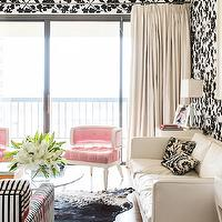 Janet Rice Interiors - living rooms - ivory, drapes, black, white, floral, wallpaper, pink, tufted, chairs, black, white, cowhide, rug, black, white, striped, chair, pink, ribbon, trim, white, modern, linen, sofa, black, white, damask, pillows, pink velvet chair, pink tufted chair, pink velvet tufted chair, pink chair, velvet chair, tufted chair,