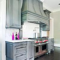 BHG - kitchens - gray, kitchen cabinets, marble, slab, countertops, backsplash, pot filler, Wolf Range, gray cabinets, gray kitchen cabinets,