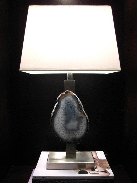 Lighting - Large Brazilian Agate Brushed Nickel Lamp by loveandkaruna on Etsy - lamp, agate, natural, modern