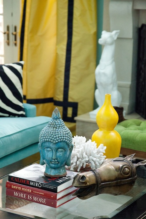 Marmalade Interiors - living rooms - Benjamin Moore - Waterfall - turquoise, blue, walls, yellow, silk, drapes, black, velvet, fretwork, greek key, trim, turquoise, blue, sofa, yellow, gourd, vase, turquoise, blue, buddha head, yellow curtains, yellow geometric curtains,