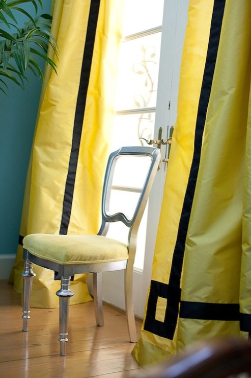 Marmalade Interiors - living rooms - Benjamin Moore - Waterfall - French doors, yellow, silk, drapes, black, velvet, Greek key, trim, turquoise, blue, walls, silver leaf, chair, yellow, cushion, yellow drapes, yellow window panels, yellow silk curtains, yellow silk drapes, yellow silk window panels,