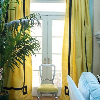 Yellow Curtains, Contemporary, living room, Benjamin Moore Waterfall, Marmalade Interiors