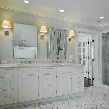 Cameo Homes - bathrooms - gray, walls, marble, basketweave, tiles, floor, white, double bathroom vanity, marble, countertop, rectangular, pivot, mirrors, seamless glass shower, marble, subway tiles, shower surround, light gray grasscloth, light gray grasscloth wallpaper,