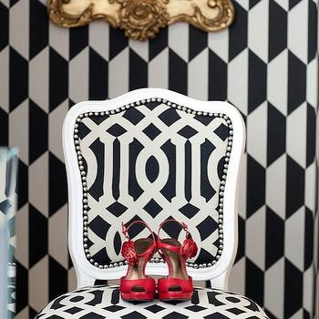 Marmalade Interiors - entrances/foyers - gold, ornate, mirror, black, white, geometric, print, wallpaper, white, chair. upholstered, Kelly Wearstler, Imperial Trellis, Fabric, glossy, red, high heels, kelly wearstler fabric, kelly wearstler pillows, kelly wearstler fabric pillows, Kelly Wearstler Imperial Trellis,