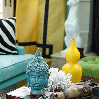 Marmalade Interiors - living rooms - turquoise, blue, walls, yellow, silk, drapes, black, velvet, fretwork, greek key, trim, turquoise, blue, sofa, yellow, gourd, vase, turquoise, blue, buddha head, yellow curtains, yellow geometric curtains,