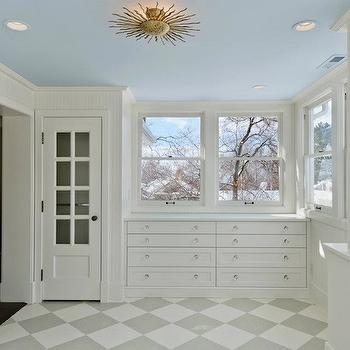 Cameo Homes - entrances/foyers - gold, sunburst, light, blue, painted, ceiling, , white, built-ins, white, gray, checkered, tiles, floor, sunburst light fixture, sunburst flush mount, Suzanne Kasler Re Flush Mount Light,