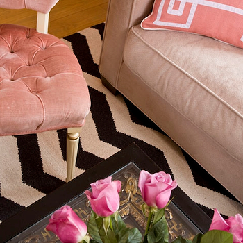 Marmalade Interiors - living rooms - pink, tufted, velvet, chair, tan, sofa, pink velvet chair, pink tufted chair, pink velvet tufted chair, pink chair, velvet chair, tufted chair, Pink Fancy Greek Key Pillow, West Elm Zigzag Rug,