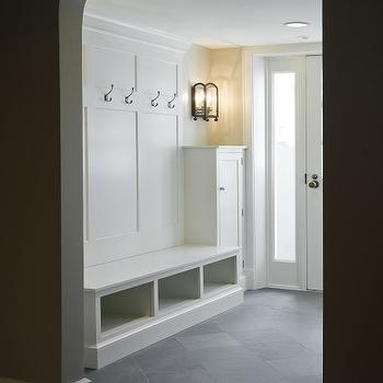 Cameo Homes - laundry/mud rooms - white, built-ins, slate, tiles, floor, mudroom, mudroom design, mudroom cabinets, mudroom storage, mudroom bench, mudroom cubbies, mudroom pin boards, mudroom hooks,