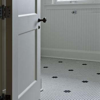 Cameo Homes - bathrooms - beadboard, walls, acrylic, lucite, towel rack, white, vintage, hex, tiles, black, vintage, hex, inset, tiles, vintage hex tile, vintage hex floor, vintage hex floor tiles,