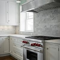 Cameo Homes - kitchens - subway tiles, backsplash, white, creamy, shaker, kitchen cabinets, marble, countertops, carrara marble, carrara marble subway tile, carrara marble backsplash, carrara marble backsplash tile, carrara marble kitchen, carrara marble subway tile kitchen, marble subway tile backsplash, carrara backsplash,