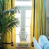 Marmalade Interiors - living rooms - turquoise, blue, walls, yellow, drapes, black, Greek key, pattern, velvet, trim, French doors, transom, windows, silver leaf chair, yellow, velvet, cushion, sisal, rug, yellow curtains, yellow drapes, yellow window panels, yellow silk curtains, yellow silk drapes, yellow silk window panels,