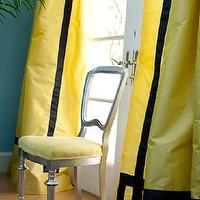 Marmalade Interiors - living rooms - French doors, yellow, silk, drapes, black, velvet, Greek key, trim, turquoise, blue, walls, silver leaf, chair, yellow, cushion, yellow drapes, yellow window panels, yellow silk curtains, yellow silk drapes, yellow silk window panels,