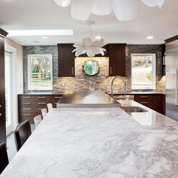 Aidan Design - kitchens - white, lotus, pendants, blue, brown, linear, glass tiles, backsplash, gold, porthole, mirror, chocolate, brown, kitchen cabinets, kitchen island, marble, countertops, brown cabinets, brown kitchen cabinets, chocolate brown cabinets, chocolate brown kitchen cabinets,