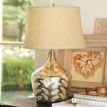 Lighting - Etched Fern Mercury Glass Table Lamp | Pottery Barn - etched, fern, mercury glass, lamp