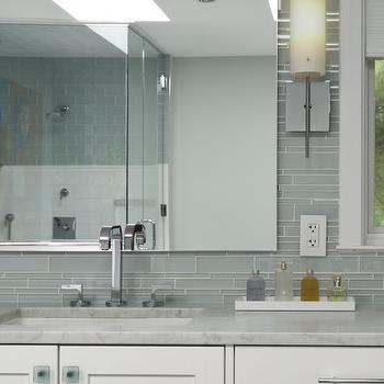 Aidan Design - bathrooms - gray, glass tiles, linear, backsplash, white, bathroom vanity, marble, countertop, gray tiles, gray tile backsplash, gray bathroom tiles, gray tile bathroom,