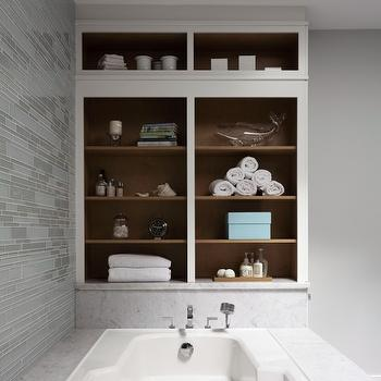 Aidan Design - bathrooms - gray, walls, gray, linear, glass tiles, backsplash, marble, tub, surround, built-ins, gray glass tile, linear gray glass tile, gray glass linear tile, gray glass backsplash, gray glass bathroom backsplash, gray glass tile backsplash,