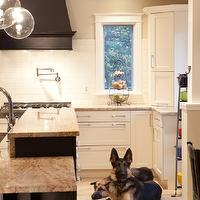 Aidan Design - kitchens - cafe au lait, walls, ebony, wood panel, range hood, pot filler, subway tiles, backsplash, black, kitchen island, granite, countertops, granite countertops, granite counters, granite kitchen counters, granite kitchen countertops,