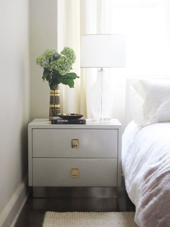 Mirror And Painted Bedside Table: Gray Nightstand