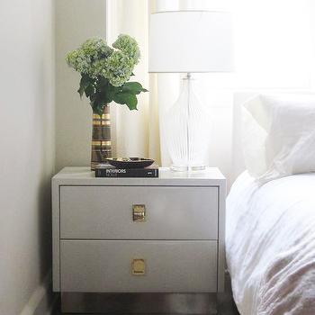 Elizabeth Sullivan Design - bedrooms - glass, lamp, glossy, white, lacquer, 2 drawer, nightstand, white, slipcover, headboard, jute, rug, gray nightstand, gray bedside table, gray lacquer nightstand, gray lacquered nightstand, gray lacquer bedside table, gray lacquered bedside table,