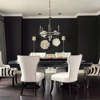 Ramsey Interiors - dining rooms - Benjamin Moore - Caviar - black, walls, glossy, black, dining room, table, ivory, nailhead trim, side, chairs, zebra, captain, dining chairs, black walls, black paint, black paint color,