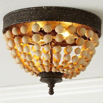 Lighting - Elena Wood Bead Flushmount | Pottery Barn - elena, wood, beaded, flushmount