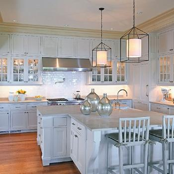 Cottage Gardens - kitchens - kitchen, kiawah, pendant, cabinets, marble, barstools, subway tile, glass vases, light gray kitchen, light gray cabinets, light gray kitchen cabinets,