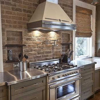 Brick Kitchen Backsplash, Cottage, kitchen, Herlong & Associates