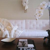 Elizabeth Sullivan Design - living rooms - white, tufted, sofa, wood, coffee table, orchid, white sofa, white tufted sofa,  Glam living room